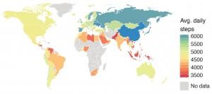 Mapa de la act. física de 111 países